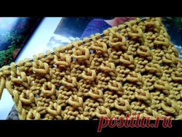 Вяжем фантазийный узор спицами ☕🍂 knitting pattern.