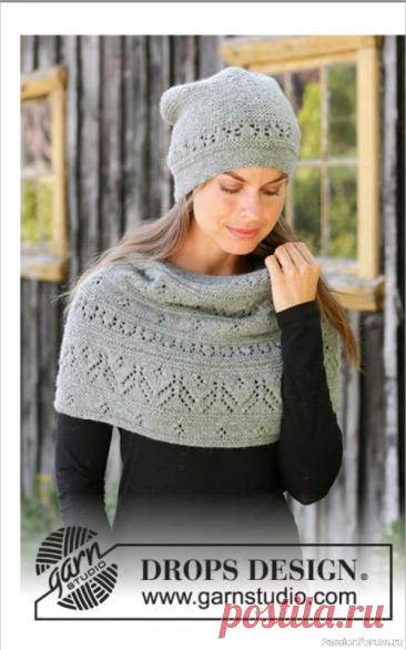 Комплект ажурная шапочка и манишка | Вязание для женщин спицами. Схемы вязания спицами