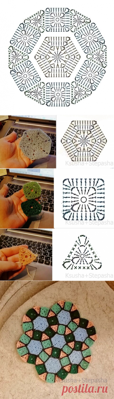 Композиция из трех простых мотивов - идея для вязаного пэчворка (крючок) | Левреткоман-оч.умелец | Яндекс Дзен