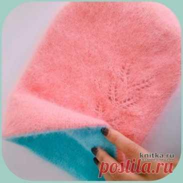 Двухцветная шапка бини спицами. Работа Натальи, Вязание для женщин