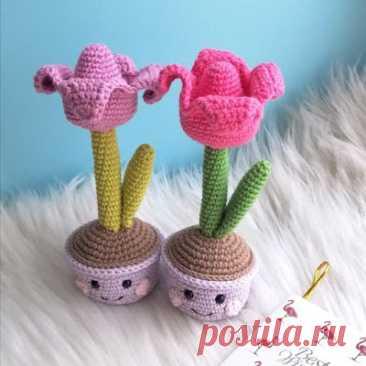 1000 схем амигуруми на русском: Тюльпан в горшочке