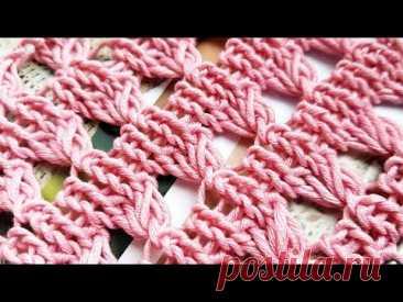 Вяжем узор с эффектом вытянутых петель 🌺 knitting pattern.