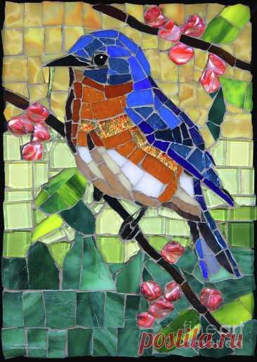 Bluebird Glass Mosaic by Cynthie Fisher Bluebird Glass Mosaic Sculpture by Cynthie Fisher