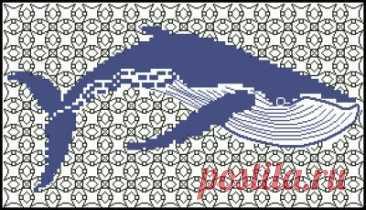 Голубой кит- схема для вышивки крестом
