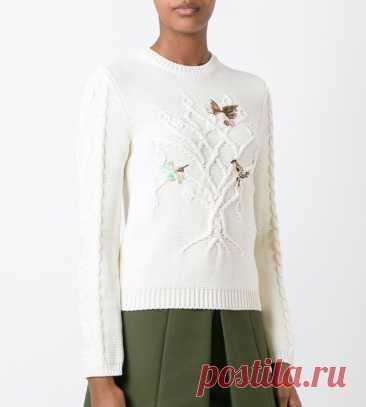 Повтор свитера с деревом и птичками Модная одежда и дизайн интерьера своими руками