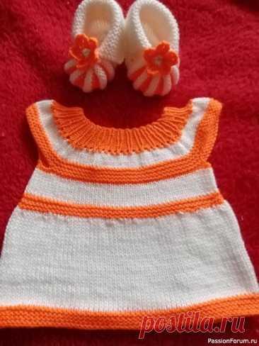 Комплект для маленьких красавиц | Вязание спицами для детей
