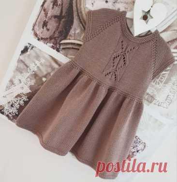 Платье для девочки спицами Капучино, Вязание для детей