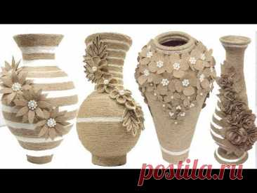 Best collection 5 jute flower vase | Home decorating ideas handmade