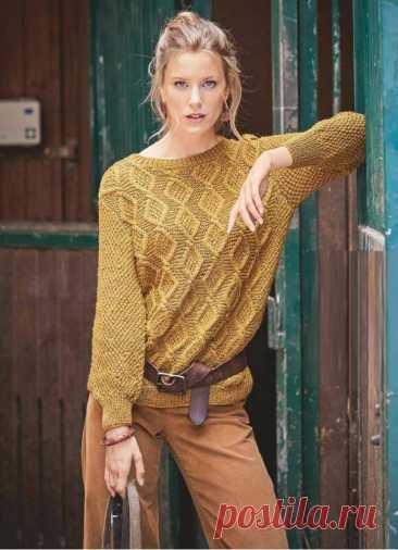 Золотисто – коричневый пуловер с узором из ромбов - Lilia Vignan