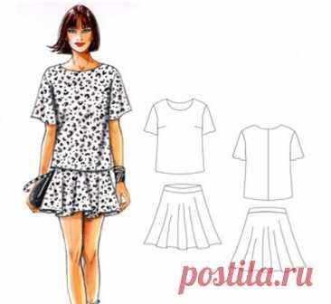 Выкройка Блуза и Юбка Размеры 34-56 евро  #patterns@thestylishpatterns