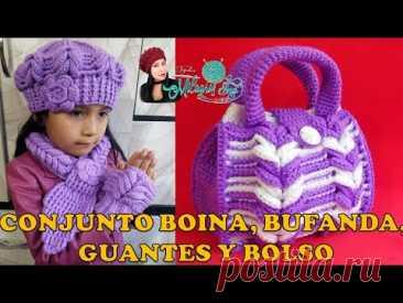 VIDEO CONJUNTO Boina, bufanda, mitones y bolso en punto Espiga tejidos a crochet