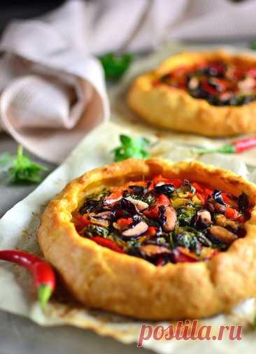 Открытый пирог с овощами и зеленью рецепт с фото пошагово
