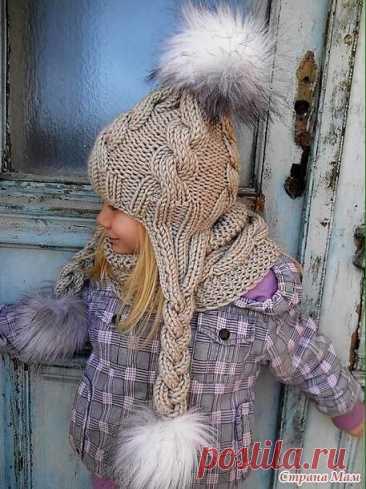 Шапочка с ушками (Вязание спицами) – Журнал Вдохновение Рукодельницы