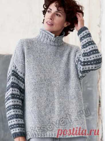 Вязаный свитер с полосатыми рукавами - Хитсовет