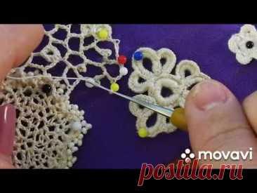 МК вязание крючком нерегулярной сеточки с пико Ирландское кружево