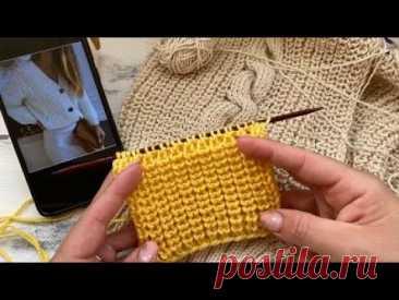 Полупатентная резинка спицами при поворотном вязании. Идеальна для кардигана.