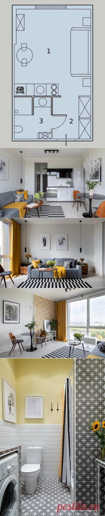 Как дизайнер оформила студию 25 м² для сдачи в аренду за 600 тысяч рублей: планировка до и после | Филдс | Яндекс Дзен