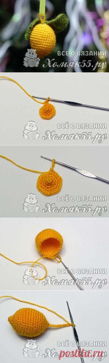 Fruit a hook - a knitted lemon on a fir-tree