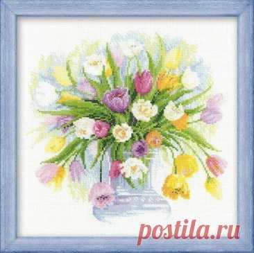 Акварельные тюльпаны (арт.100/008 Риолис Премиум) купить в Stitch и Крестик.