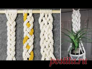 3 Useful Macrame Braids for Plant Hanger, Wall Hanger, Belt and more - YouTube