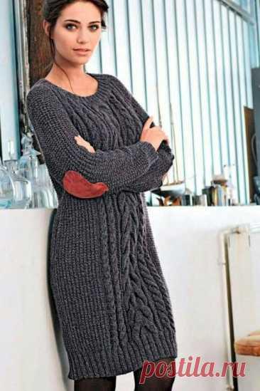 Удобное вязаное платье (Вязание спицами) – Журнал Вдохновение Рукодельницы