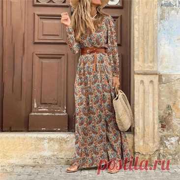 Женское длинное платье в стиле бохо, винтажное  с длинным рукавом, V образным вырезом