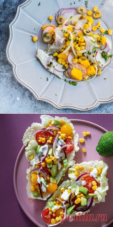 Кулинарные рецепты - Севиче из сибаса с манго и кукурузой - с фото и видео инструкцией на сайте Bonduelle.ru