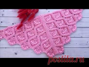 """🦩Шаль """"Фламинго""""🦩Узор для шали и бактуса🦩Crochet shawl🦩"""