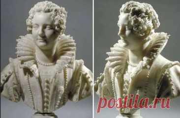 В Лувре можно увидеть поразительный мраморный бюст работы итальянского скульптора Джулиано Финелли, изображающий молодую женщину, одетую по моде XVII века. Эта скульптура замечательна как раскрытием образа портретируемой дамы, так и удивительной техникой исполнения.