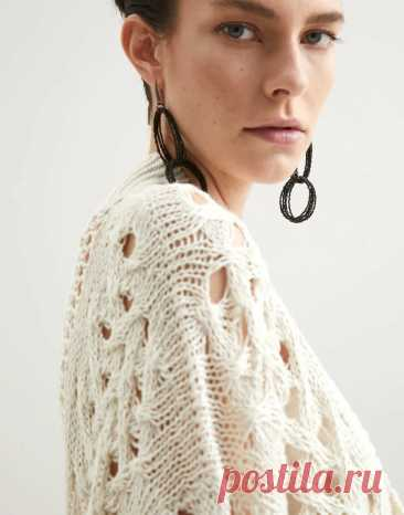 Кардиган дизайна Brunello Cucinelli как идея для вязания и другие идеи для вязания летних моделей с сетчатыми узорами спицами | Ирина СНежная & Вязание | Яндекс Дзен