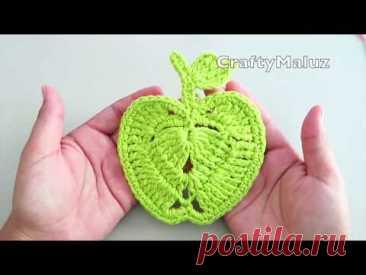CROCHET TUTORIAL ♥ MANZANA A CROCHET PASO A PASO | porta vasos de manzana