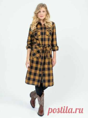 Платье-рубашка с накладными карманами - выкройка № 21 из журнала 11/2020 Burda. Extra – выкройки платьев на Burdastyle.ru