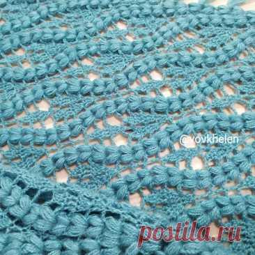 Шаль «Подснежники» (схема вязания) | Вязание крючком от Елены Кожухарь