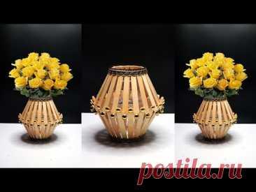How to make flower vase with popsicle sticks | Flower Vase DIY | Best out of waste ideas