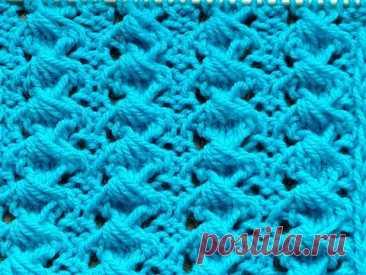 Вяжем спицами.  Объёмный узор для свитера, пуловера, жилета