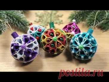 Новогодние шары из глиттерного фоамирана, 2 Идеи ёлочных игрушек 2022 🎄 2 DIY christmas ornaments