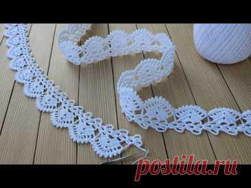 КРУЖЕВО КРЮЧКОМ простое ВЯЗАНИЕ для начинающих КАЙМА схема узора Easy to Crochet Tape Lace pattern