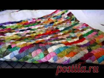 Подушка печворк, остатки мулине // Pillow patchwork, leftover floss