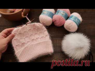 Невероятная мягкость - ШАПОЧКА из ПУХА НОРКИ спицами 🦝 Knitted mink down hat 🦨