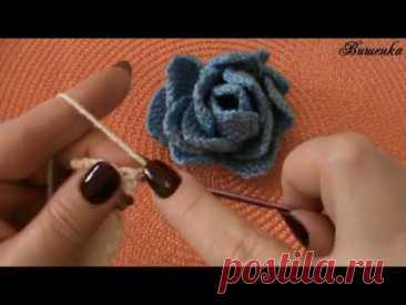 Вязание крючком пышного цветка РОЗОЧКА | Вязание крючком для начинающих