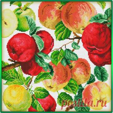 Подушка с вышивкой яблоками