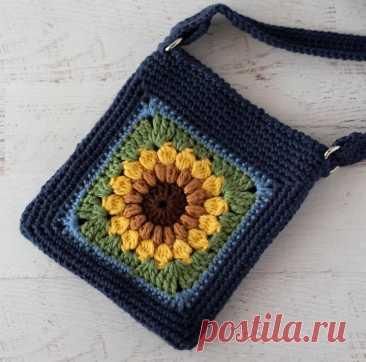 Сумка через плечо Sassy Sunflower, связанная крючком