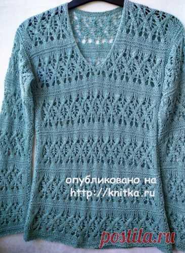 Ажурный пуловер спицами. Работа Ирины