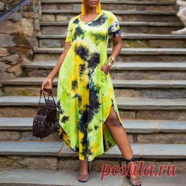 Модное летнее платье с принтом в виде галстука красителя женский сарафан ZANZEA женские вечерние платья с коротким рукавом и разрезом на подоле|Платья| | АлиЭкспресс