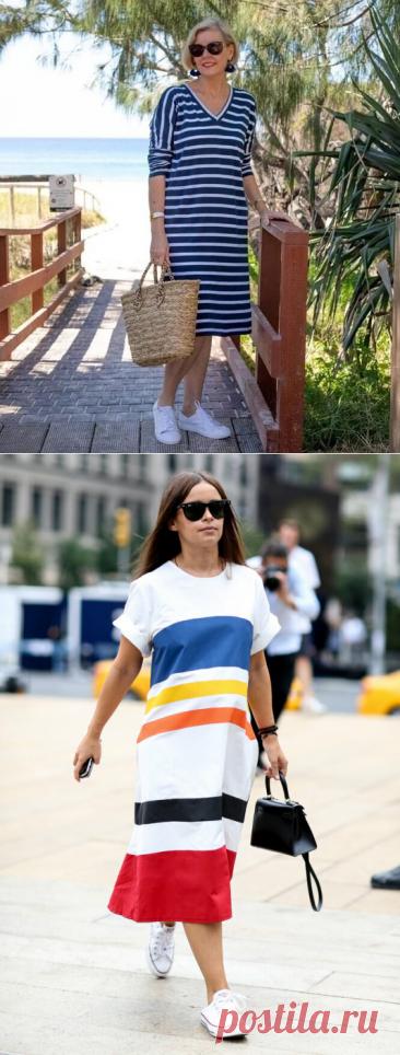 11 образов действительно стильно сочетать платье и кроссовки женщине за 50   Glamiss   Яндекс Дзен