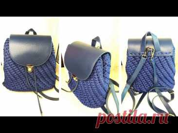 Рюкзак из полиэфирного шнура и кожаной фурнитуры. Вяжем крючком