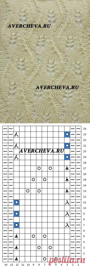 Узор спицами 1016 | каталог вязаных спицами узоров