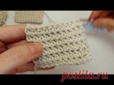 Три фактуры плотным двойным узором. Single Crochet Thermal Stitch.