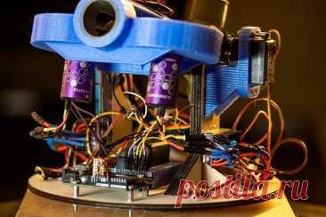 Турельная установка с беспроводным управлением (стреляет шариками для бластеров Nerf) Это проект по созданию вращающейся на 360 градусов турели для стрельбы мягкими шариками на базе Arduino, с полным беспроводным управлением с помощью джойстика, а также камерой и гарнитурой для обзора от первого лица. Работу турели можно посмотреть на обзорном видео. Инструменты и материалы: -250 x