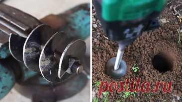 Садовый шнековый бур из хлама своими руками Чтобы очень быстро делать лунки для посадки растений, можно использовать небольшой шнековый бур и аккумуляторный шуруповерт. С таким устройством легко высаживать цветы, семена, саженцы деревьев. Сделать подобный бур можно своими руками. Материалы: Листовая сталь 2 мм; шпилька М14-М20; саморезы – 4